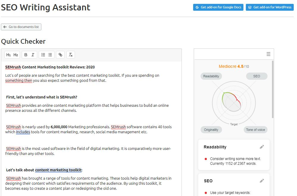 SEO Writing Assistant tool
